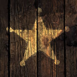 Grunge sheriff star illustration. Grunge sheriff star on wooden texture stock illustration