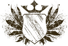 Grunge shield. With crown and wings Royalty Free Stock Photos