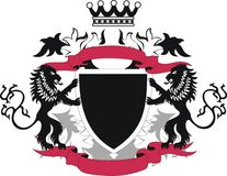Grunge shield with black lions Stock Images