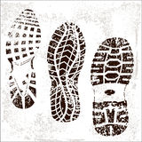 Grunge Shoe Tracks trio Stock Photos
