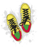 Grunge shoes Stock Images