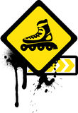 Grunge sign with roller skates. Stock Photo