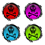 Grunge signs of human skull. On white Stock Images