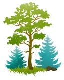 Grunge silhouettes av skogtreen och granar Arkivfoto