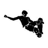 Grunge skateboarder jumping Royalty Free Stock Photo