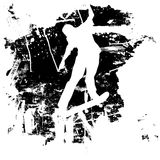 Grunge skateboarder or snowboarder. Skateboarder or snowboarder in vector silhouette with grunge style and effects Royalty Free Stock Image