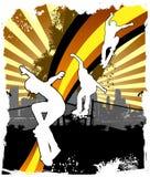 Grunge Skater in city. Grunge Skater in spray city background Stock Image