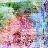 Grunge skrapade bakgrund för för blått, röd och grön färg royaltyfri illustrationer