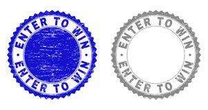 Grunge SKRIVER IN för ATT SEGRA skrapade vattenstämplar royaltyfri illustrationer