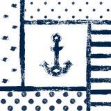 Grunge skrivev ut ankarkonturn i en mönstrad ram, marin- vektorillustration Royaltyfria Bilder