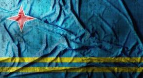 Grunge skrynklade den Aruba flaggan framförande 3d Royaltyfria Bilder