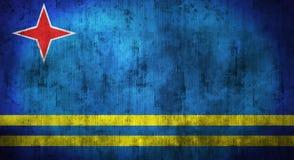 Grunge skrynklade den Aruba flaggan framförande 3d Arkivbild