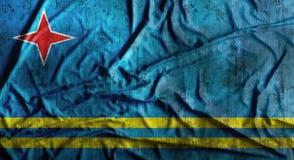 Grunge skrynklade den Aruba flaggan framförande 3d Royaltyfria Foton