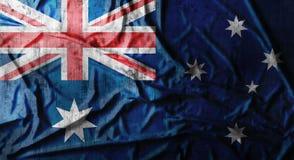 Grunge skrynklade den australiska flaggan framförande 3d Arkivbild