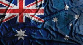 Grunge skrynklade den australiska flaggan framförande 3d Arkivfoto
