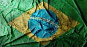 Grunge skrynklade den Brasilien flaggan framförande 3d Fotografering för Bildbyråer