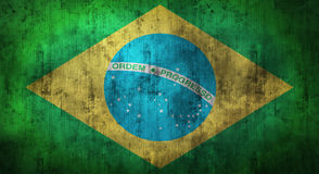 Grunge skrynklade den Brasilien flaggan framförande 3d Arkivfoton