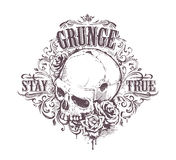 Grunge Skull Art. Grunge skull with roses and floral patterns. Stay true vintage print. Vector illustration Stock Photos