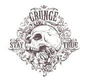 Grunge Skull Art. Vintage floral pattern. Grunge print. Vector art Royalty Free Stock Photo