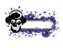Grunge Skull Banner. Vector image of skull with headphones and banner for sample text Stock Photos