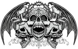 Grunge skull coat of arms stock photo
