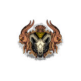 Grunge skull coat of arms. Gothic coat of arms with skull, grunge,vintage design t-shirts Stock Images