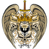 Grunge skull coat of arms Royalty Free Stock Images