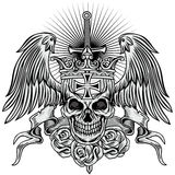 Grunge skull coat of arms. Gothic coat of arms with skull, grunge.vintage design t-shirts Stock Photography
