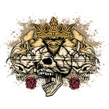 Grunge skull coat of arms Stock Photography