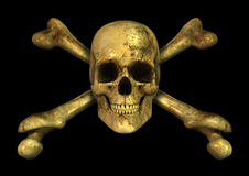 Grunge Skull Crossbones. 3D render of a grungy skull and crossbones royalty free illustration