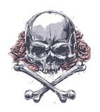 Grunge Skull. With crossed bones and roses. Vector art Royalty Free Stock Photography