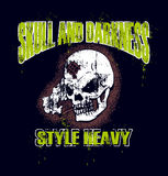 Grunge skull design. On black background with words, skull and darkness, and, style heavy Stock Photo