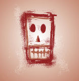 Grunge skull face. In separate layers Stock Photography