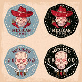 Grunge skull in a Mexican sombrero with chili peppers,flo Stock Photography