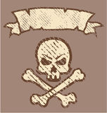 Grunge Skull n Bones Vector Label Royalty Free Stock Photos
