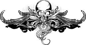 Grunge Skull Ornament. Grunge skull black ornament isolated on white Royalty Free Stock Photo