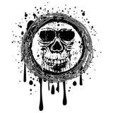 Grunge skull. Vector illustration skull on grunge background. For tattoo or t-shirt design Stock Photography