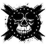 Grunge skull. Vector illustration skull on grunge background. For tattoo or t-shirt design Royalty Free Stock Photography