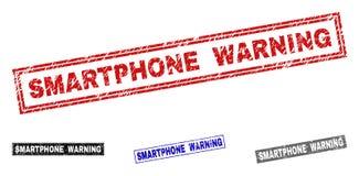 Grunge SMARTPHONE prostokąta ostrzeżenie Drapający znaczki ilustracja wektor