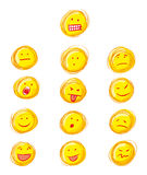 Grunge smilies. A whole set of smilies in grunge style Royalty Free Stock Images