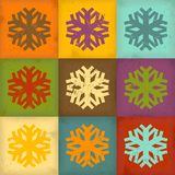 Grunge snowflakes. Retro background with colorful snowflakes Stock Image
