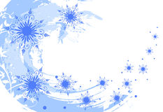 Grunge snowflakes background. With floral elements Stock Photo
