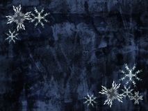 Grunge snowflakes background. Blue grunge background with fractal snowflakes royalty free illustration
