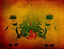 Grunge snowman, Christmas background Stock Photos