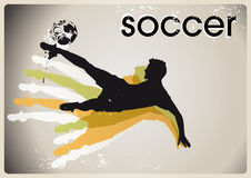 Grunge soccer background. Abstract grunge soccer background with playing in midair kicking ball vector illustration