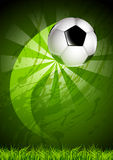 Grunge soccer ball background. Soccer ball, flying over the curved trajectory, on a dirty background royalty free illustration