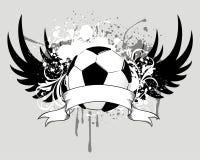 Grunge soccer ball emblem Stock Image