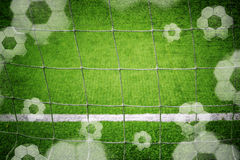 Grunge soccer goal net with balls background Stock Photos