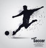 Grunge soccer player. Vector illustration background Stock Photos