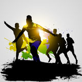 Grunge soccer players celebrating 02. Soccer players celebrate winner the game with team-mates Royalty Free Stock Images